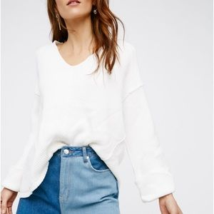 NWT Free People White Bell sleeved sweater